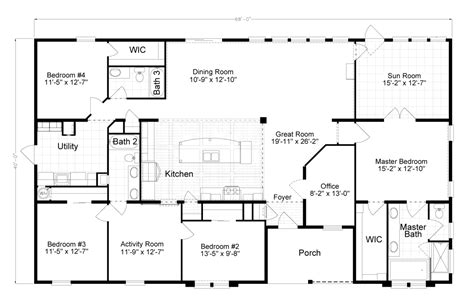 4 5 bedroom mobile home floor plans view tradewinds floor plan for a 2595 sq ft palm harbor