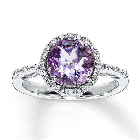 amethyst ring cut with diamonds sterling silver