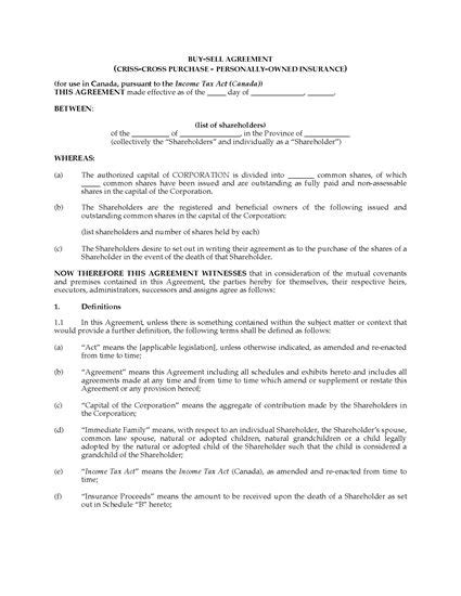 shareholder buyout agreement template 28 buy and sell agreement template canada 37 simple