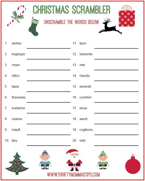 free printable christmas word games puzzles christmas scrambler free kids puzzle printables thrifty
