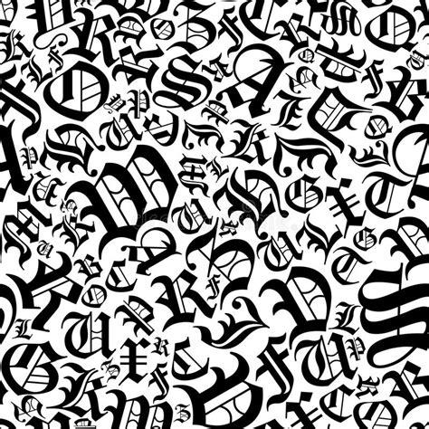lettere in gotico modello senza cuciture di alfabeto in uno stile gotico