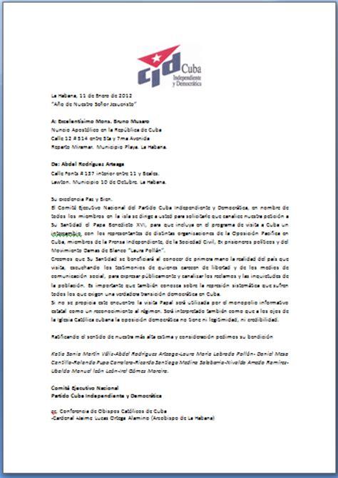 Carta Formal Varias Personas by Cuba Independiente Y Democr 225 Tica Carta Al Nuncio Pide Que