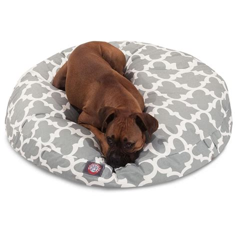 large round dog bed gray trellis large round pet bed