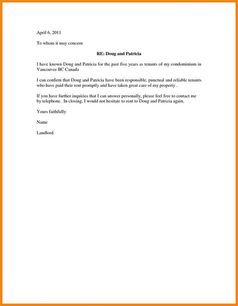 rental reference template character reference letter for rental
