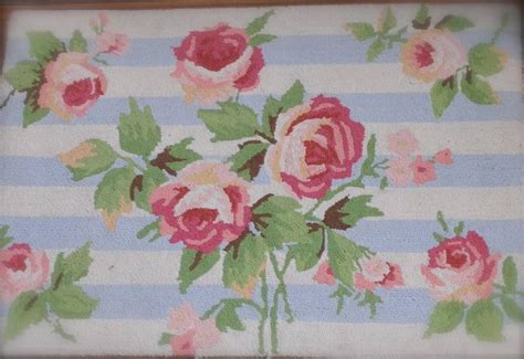 country cottage shabby pink roses blue floral hooked