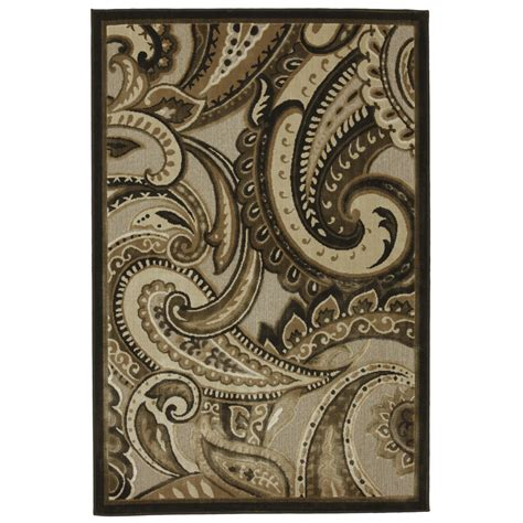 paisley area rug shop mohawk home brown paisley rectangular brown transitional woven area rug common 8