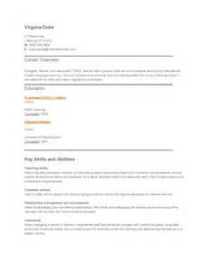 sample resume tesol teacher
