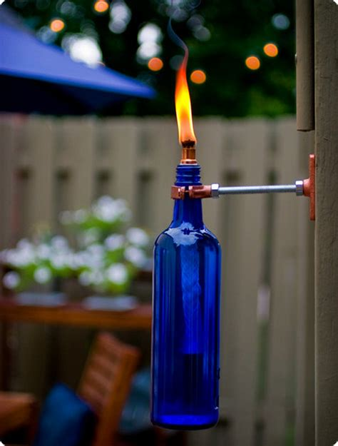 backyard torches lanterns diy project erik s recycled wine bottle torch design sponge