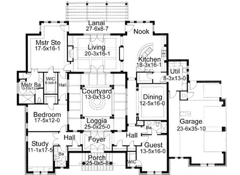 house plan rectangle with courtyard southwest style house plans 3355 square foot home 1