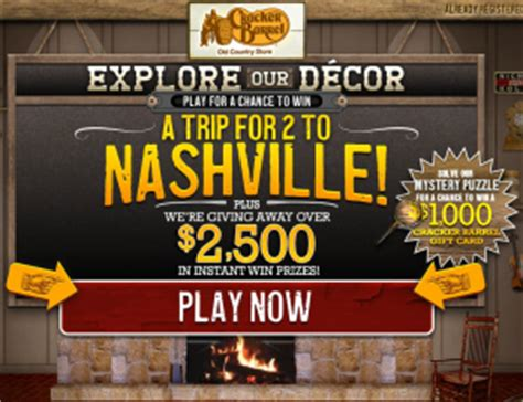 Cracker Barrel Sweepstakes - cracker barrel old country store quot explore our decor quot sweepstakes iwg win a trip to