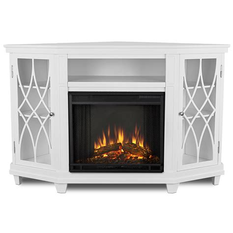 real flame   lynette corner indoor electric fireplace  white