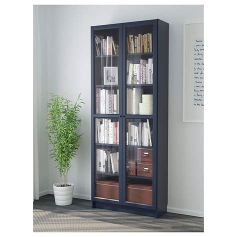 bookcase with glass door billy blue billy bookcases