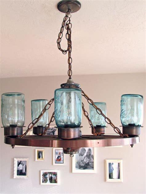 wagon wheel light with jars kitchen lighting plans wagon wheel light blue