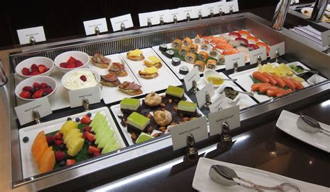 Buffet Table Dining Room by Review Emirates First Class Lounge Dubai Dxb One Mile