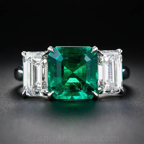 2 75 carat emerald platinum ring image 2