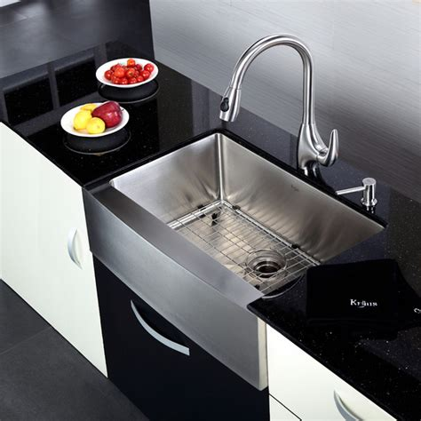 faucet sink kitchen kraus khf200 30 kpf2170 sd20 30 inch farmhouse sink and
