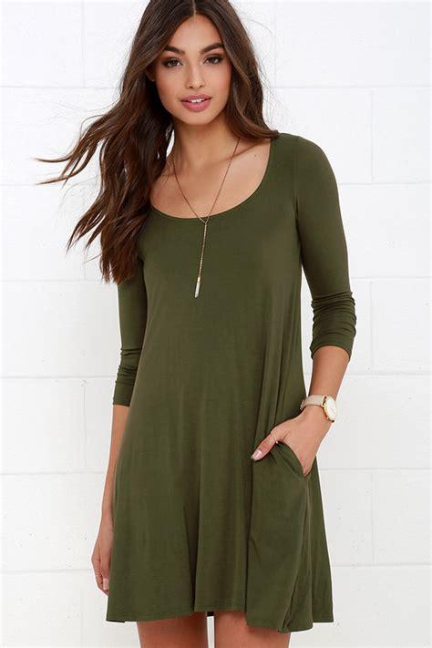 44155 Brown Autumn Length S M L Dress olive green dress swing dress sleeve dress
