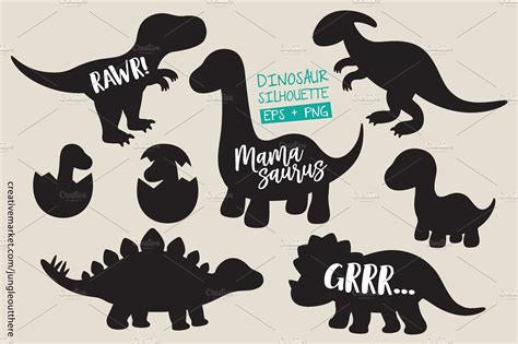 eps clipart dinosaur silhouette vector eps png illustrations