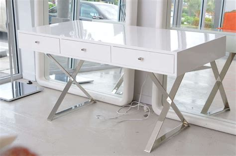 White Lacquer Desk by White Lacquer Desk And Chrome Base Style Of Milo