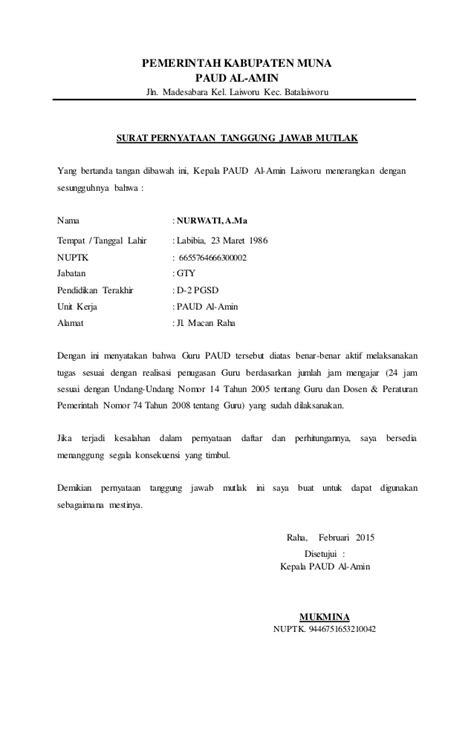 surat pernyataan tanggung jawab mutlak tk al amin