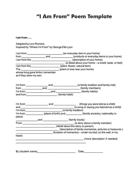 poem templates for high school students handout of quot i am from quot poem template poetry