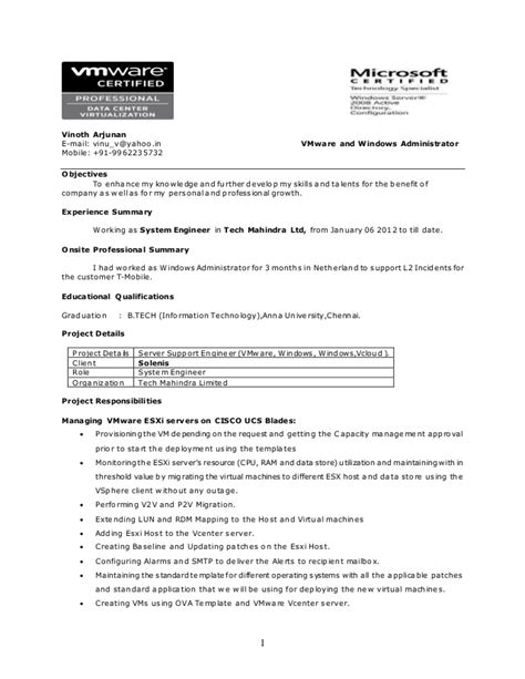 sle resumes for vmware admin resume