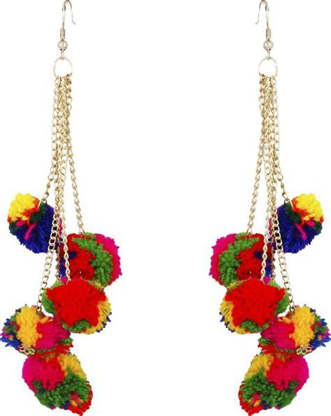 Anting Coloured Poms Tassel Earrings flipkart buy freshvibes pom pom earrings for multi colour tassel pompom fur funky