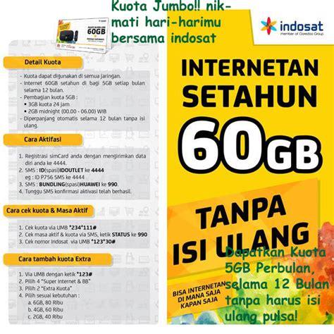 Wifi Indihome Per Bulan Surabaya indosat internetan 60gb 5gb bln selama 12 bulan