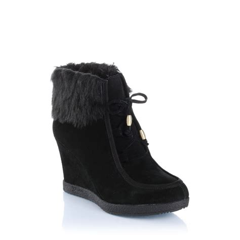 guess wedge ankle boots in black lyst