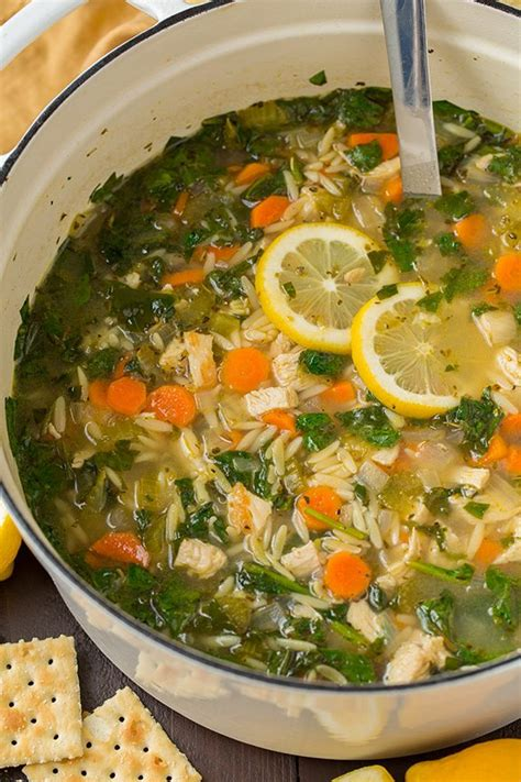 Http Www Favehealthyrecipes Cooker Soup Recipes Cooked Detox Soup by Lemon Chicken And Spinach Orzo Soup Cooking