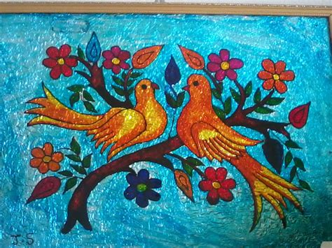 painting crafts for arts and crafts glass painting birds