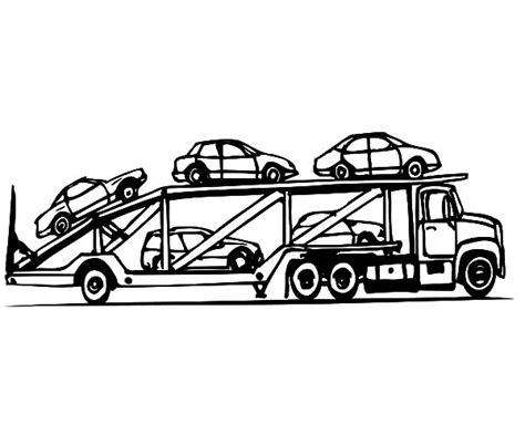 Car Carrier Coloring Page | car transporter cement truck outline coloring pages car