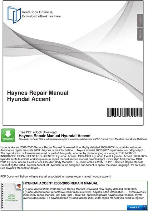 Haynes Repair Manual Hyundai Accent Pdf