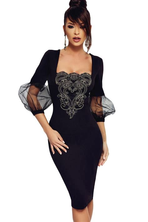 black square neck embroidered mesh puff sleeve sexy