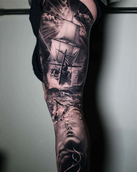 thigh sleeve tattoos seascape sleeve on leg leg sleeves leg