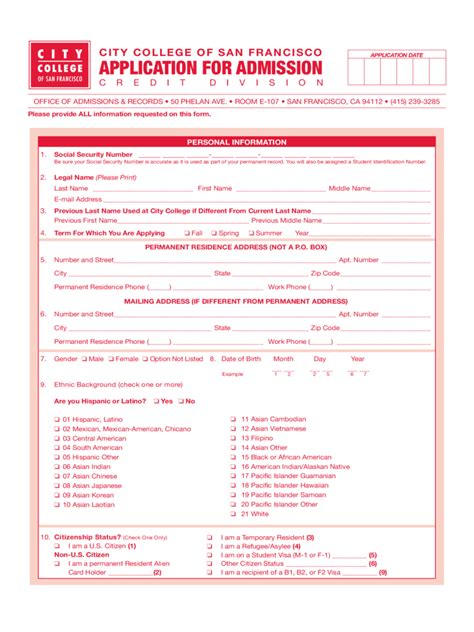 City College Of San Francisco Application Form 2 Free Templates In Pdf Word Excel Download San Francisco Rental Application Template