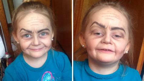 67 year old female face toddler turned into little old lady by makeup wielding