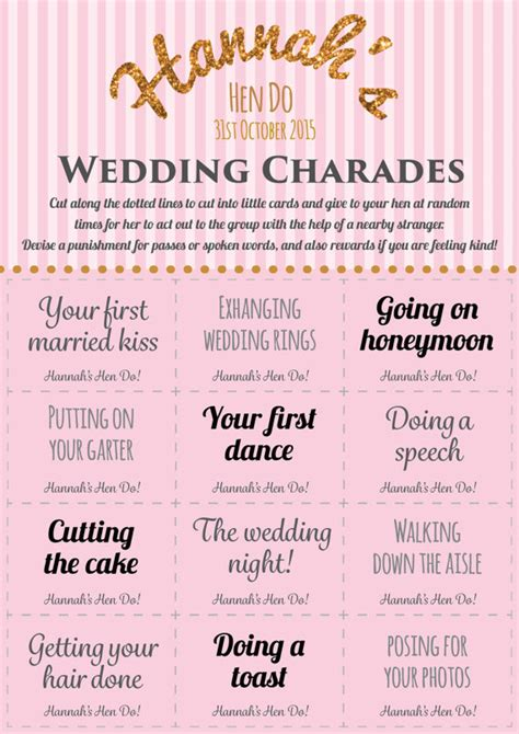 printable bridal shower charades personalised hen party game wedding charades printable hen