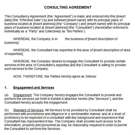 consultant agreement template sle consulting agreement 9 documents in pdf word