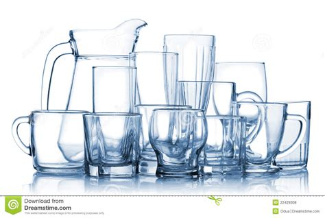 assorted empty glassware set royalty free stock photos
