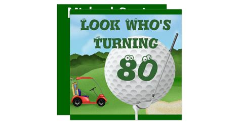 Anniversary Card Golf Template by Golf 80th Birthday Invitations Template Zazzle