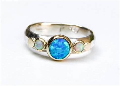 Wedding Anniversary Opal by Blue Opal Ring Gold And Silver Ring 14k Gold Ring