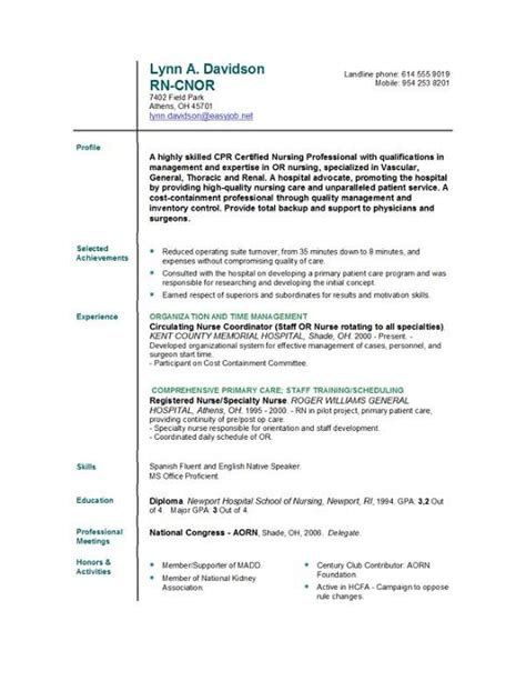 nursing resume templates easyjob perfect nursing resume