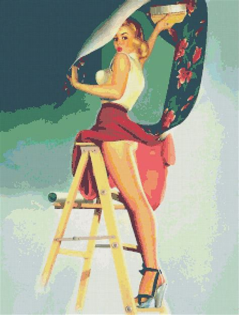 putting up patterned wallpaper retro pin up putting up wallpaper cross stitch pattern ebay