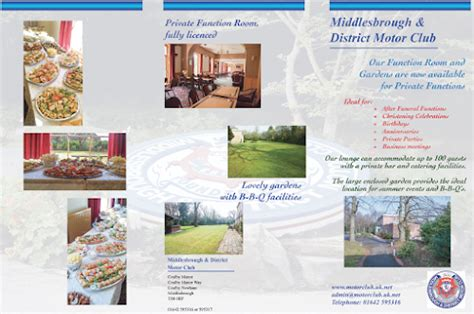 leaflet design middlesbrough private functions middlesbrough district motor club