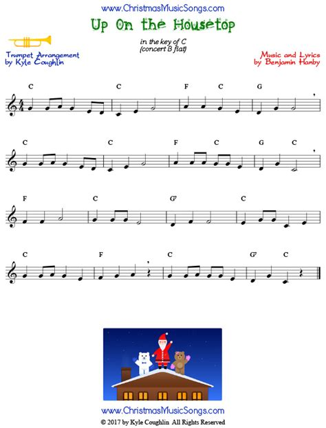 printable lyrics up on the housetop up on the housetop for trumpet free sheet music