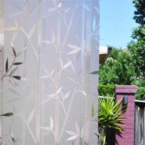 Glass Sticker Bambu Ukuran 45x100 opaque privacy glass window embossing bamboo 3d static cling frosted window stickers