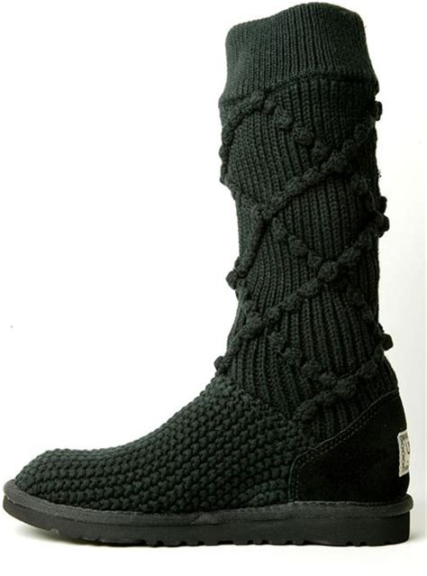 ugg boots knit ugg classic argyle knit boot in black lyst