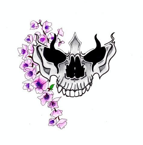 purple cherry blossom with skull tattoo design by david