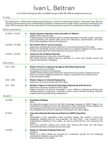 Software Engineering Resume Sles From Real Professionals Who Got Hired Kickresume Software Engineer Resume Template